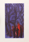 Rainer Fetting, Three Figures Around Fire, Color Etching, Signed And Numbered In