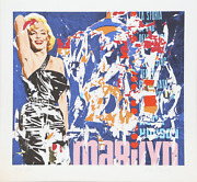 Mimmo Rotella Marilyn Screenprint Signed And Numbered In Pencil