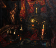 Unknown Artist Still Life With Copper Kettles Oil On Canvas Signed F.c.k. On
