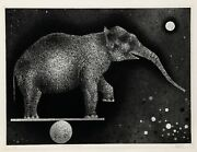 Mario Avati Elephant Equilibriste Mezzotint Signed And Numbered In Pencil