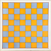 Unknown Artist Blue And Orange Chessboard Poster Mounted On Board Mounted To P