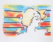 Peter Max American Woman Lithograph Signed And Dedicated In Pencil