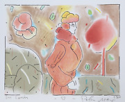 Peter Max In His Garden Lithograph Signed And Dedicated In Marker