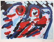Karel Appel Three Smiling Faces Lithograph Signed In Pencil