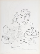 Ludwig Bemelmans Portrait Of A Girl With Pears Lithograph Signed In Pencil