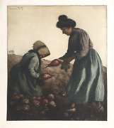 Manuel Robbe Harvest Sugar Beets Aquatint Etching Signed In The Plate