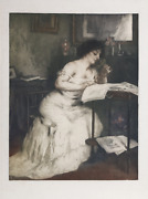 Manuel Robbe, Woman Reading, Aquatint Etching, Signed In Pencil