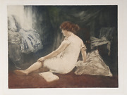 Manuel Robbe La Deshabille Aquatint Etching Signed In The Plate