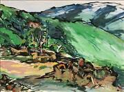 Alfred Sandford House Up The Hill Acrylic On Arches Paper Estate Stamped Vers