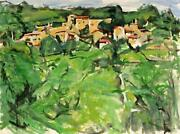 Alfred Sandford Village On The Hillside No. 3 Acrylic On Arches Paper Estate
