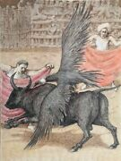 Unknown Artist Bull Fight With Vulture Ink Gouache And Watercolor On Paper S