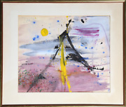 Unknown Artist Abstract Tent With Sun Gouache And Watercolor On Paper