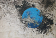 Yannick Ballif Blue Planet Acrylic Monoprint And India Ink On Paper