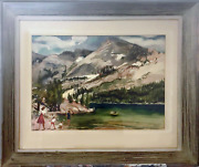 Cecile Johnson Family Visiting Mountain Park Watercolor On Paper Signed L.r.