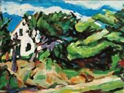 Alfred Sandford White House In Woods No. 2 Acrylic On Arches Estate Stamped V