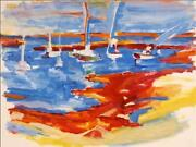 Alfred Sandford Shore And Boats A La Matisse No. 1 Acrylic On Arches Estate S