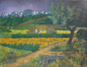 Laurent Marcel Salinas, Landscape With Plow And Farm 703, Oil On Canvas, Signe