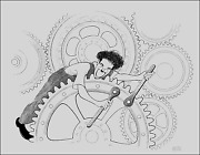 Al Hirschfeld Charlie Chaplin - Modern Times Lithograph Signed And Numbered I