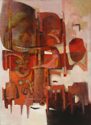 Oskar Dand039amico Red Abstract Construction Oil On Canvas Signed
