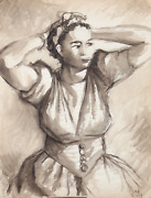 Laurent Marcel Salinas Woman Arms Up 322 Wash And Ink On Paper Signed L.r.