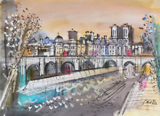 Charles Cobelle Along The Seine In Spring Acrylic On Paper Signed L.r.