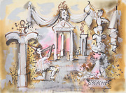 Charles Cobelle Sculpture Garden With Horn Player Acrylic On Paper Signed L.r