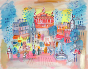 Charles Cobelle, Palais Garnier With Fountain 1, Acrylic On Paper, Signed L.r.