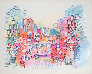 Charles Cobelle View Of Notre Dame And Bridge 2 Acrylic On Paper Signed L.r.