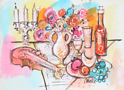 Charles Cobelle Still Life With Wine And Violin 1 Acrylic On Paper Signed L.r