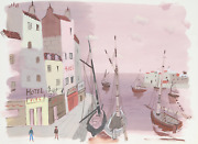 Charles Levier French Hotels By The Harbor Pink Watercolor On Paper Unsigne
