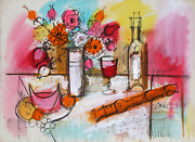 Charles Cobelle Still Life With Wine And Flowers 1 Acrylic On Paper Signed L.