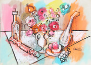 Charles Cobelle Still Life With Mandolin And Wine Acrylic On Paper Signed L.r