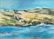 Alfred Sandford Boats And Manana Island No. 2 Equinox Acrylic On Arches Est
