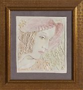 Frank Gallo Pink Hat Ceramic Tile Signed Lower Right