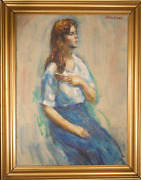 Thomas Strickland Joanne Combing Hair Oil On Canvas Signed U.r.