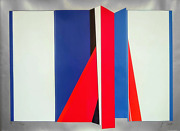 Jean Baier Untitled - Red And Blue Origami Screenprint On Foil Signed And Num