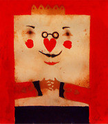 Deloss Mcgraw King Of Hearts Gouache On Paper Signed