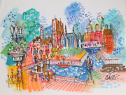 Charles Cobelle Notre Dame Along The Seine Acrylic On Paper Signed L.r.