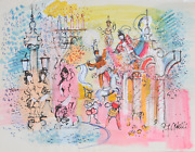 Charles Cobelle, Paris Fountain With Circus Performers, Acrylic On Paper, Signed