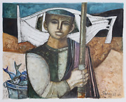 Lucio Ranucci Fisherman Watercolor On Paper Signed And Dated L.r.
