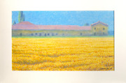Oliviero Masi Wheat Field And House Pastel On Paper Signed And Dated Lower Ri