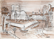 Charles Cobelle The Seine And Notre Dame 2 Ink And Pencil On Paper Signed L.r