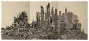 John Ross Homage To The City Day Collagraph Triptych Signed Numbered And