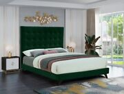 1pc King Size Bed Bedroom Furniture Green Velvet Fabric Espresso Wooden Legs Bed