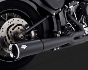 Vance And Hines Pro Pipe Exhaust 2 Into 1 System Black For Harley Softail 2012-17