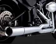 Vance And Hines Pro Pipe Exhaust 2 Into 1 System Chrome For Harley Softail 2012-17