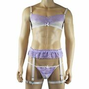 Mens Crystal Lingerie Bra Top, G String And Garter White And Lilac Plus Other C