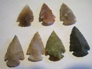 Vintage Lot Of 7 Stone Arrow Heads -crafts/collectors/scouts