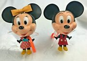 Scarce Toys 1971 Mattel Talk Ups Mickey And Minnie Mouse W/ Original Clothes