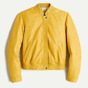 J Crew Collection Aj036 Nwt Size Xs Butter Yellow Leather Aviator Jacket A18